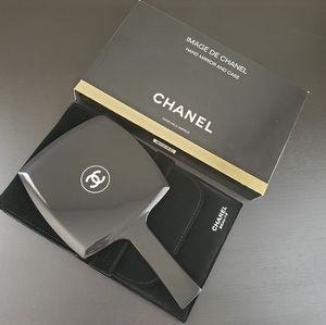 CHANEL hand held mirror with velvet case